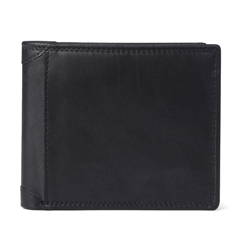 GENODERN Leather Men Wallets with Coin Pocket Vintage Male Purse Function Brown Genuine Leather Men Wallet with Card Holders