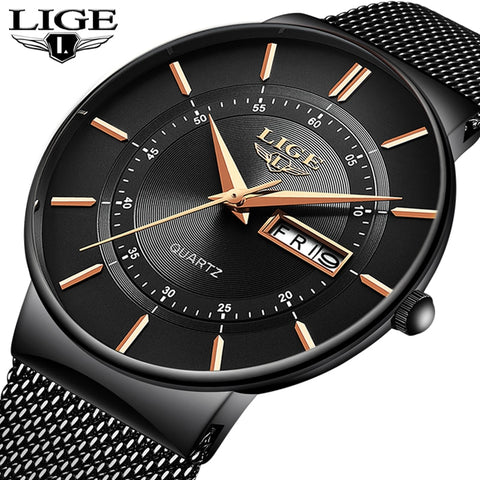 Mens Watches LIGE Top Brand Luxury Waterproof Ultra Thin Date Clock Male Steel Strap Casual Quartz Watch Men Sports Wrist Watch