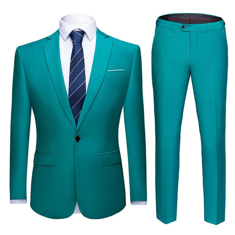 Men Suits Slim Fit 2-Piece Jacket Pants Notch Lapel Single Button Formal Casual