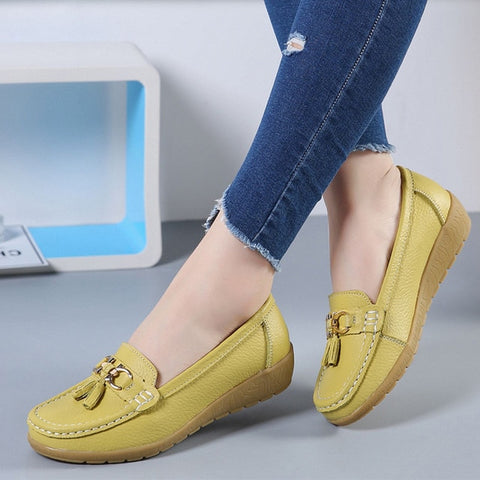 Women Flats Ballet Shoes Cut Out Leather Breathable Moccasins Women Boat Shoes Ballerina Ladies Casual Shoes