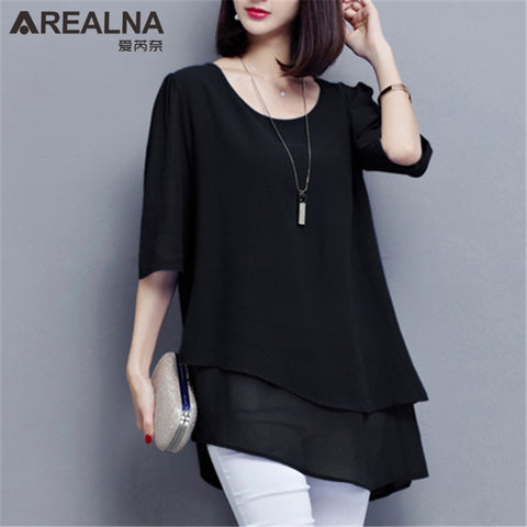 Vintage Chiffon Blouse Women Black