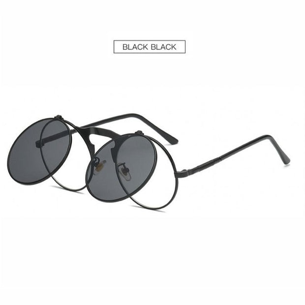 New Retro  Punk Steam Clamshell Sunglasses Rays Men Women Round  Sunglasses  Trend Ladies Outdoor Personality Sun glasses UV400