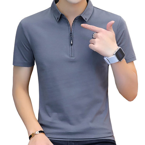 BROWON summer casual polo shirt men short sleeve turn down collar slim fit