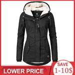 Women Winter Coat Warm Windproof Slim Outerwear Fashion Zipper Pocket Hooded  Overcoats Autumn Clothes
