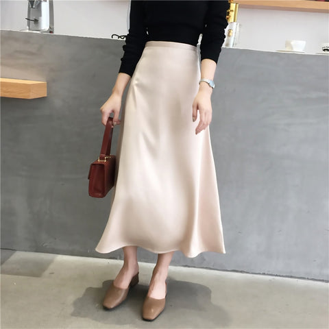 Women Elegant OL Skirt Ladies Glossy Satin Skirt