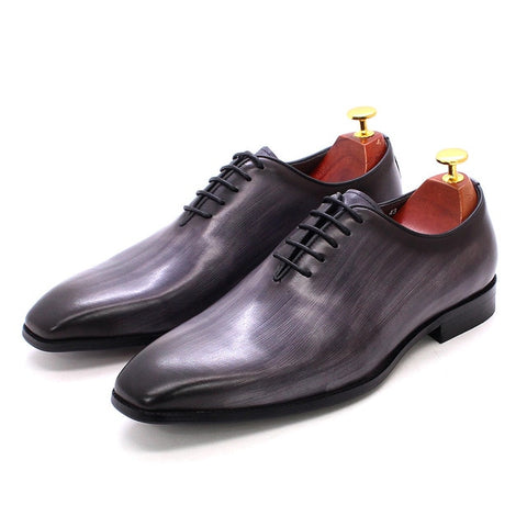 European Luxury Mens Oxford Dress Shoes Genuine Leather Whole Cut Handmade Mens Shoes Lace Up Business Office Formal Shoes Men