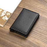 Men smart wallet Credit Bank card holder Aluminum alloy Business Casual Mini wallet Brand Leather Purse
