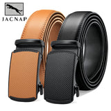JACNAIP Men Leather Belt Automatic Buckle More Color Adjustable Genuine Leather Black Belts Cow Leather Belt For Men 3.5cm Width