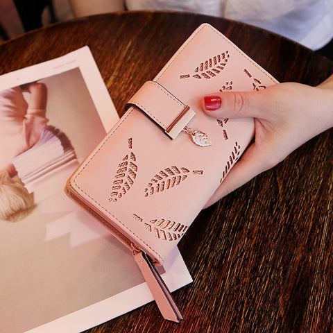 Women Wallet Leather Purse Female Long Wallet Gold Hollow Leaves Pouch Handbag For Women Coin Purse Card Holders