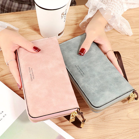 Female Wallet Matte Leather Long Purse Black Blue Green Gray Famous Brand Designer Wallet Women