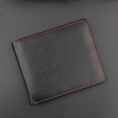 Leather Men's Business Wallet, Short Solid Color Provincial Bank Card, Multi-digit Card Holder, Card Bag Wallet Pocket