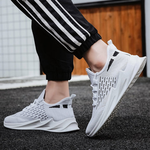 FashionMen sports shoes thick-soled socks shoes men's casual shoes lace-up breathable shoes men's lightweight running#g30