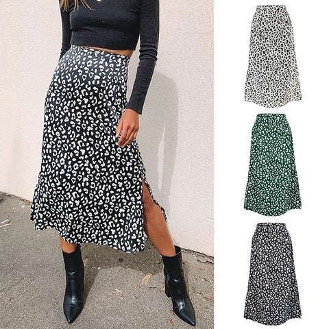 Leopard Wrap Skirt Print Chiffon Split Skirt