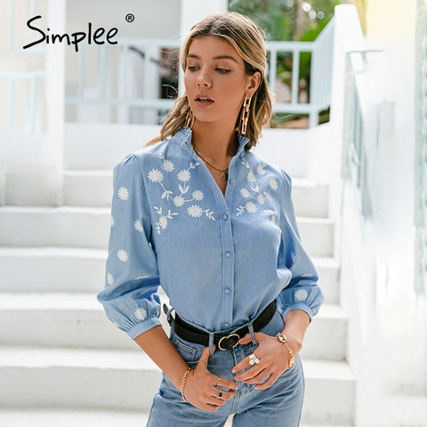 Simplee Denim Light Blue Puff Sleeve Female Blouse Casual