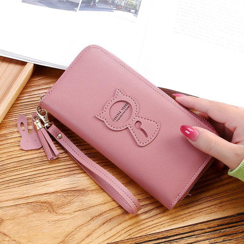 Long Women's Wallet Female Purses Tassel Coin Purse Card Holder Wallets Female Leather Clutch Money Bag Leather Wallet