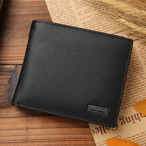 Leather Men Wallets Premium Real Cowhide Wallets for Man Short Black Wallet