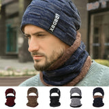 Woolen Cap Winter Hat Beanies Men's Hat Scarf Warm Breathable Wool Knitted Hat For Boys Letter Double Layers Cap Knitted Hats