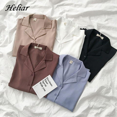 HELIAR Women Sping Chiffon Shirts Long Sleeve V-Neck Buttoned Up Tops