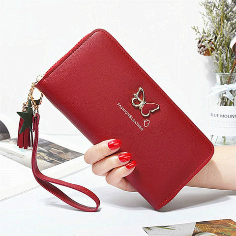 Fashion Butterfly Women Wallet Wrist Handle Phone Case Long Section Money Pocket Pouch Handbag Women's Purse Card Holders