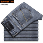 Men's Stretch Regular Fit Jeans Business Casual Classic Style Fashion Denim Trousers Male Black Blue Gray Pants