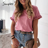 Simplee Casual ruffles short sleeve  t shirts women