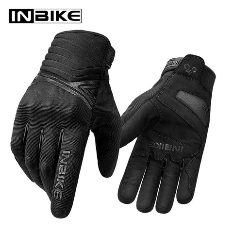 INBIKE Pro Winter Warm Motorcycle Gloves Men Cycling Bicycle Five Finger Gloves Waterproof Shock-absorption Touch Screen Gloves