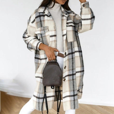 Winter Women Checked Jacket Casual