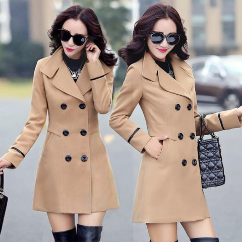 Woolen jacket women's mid-length 2021 spring and autumn new Korean style small fragrance short casual jacket thickened