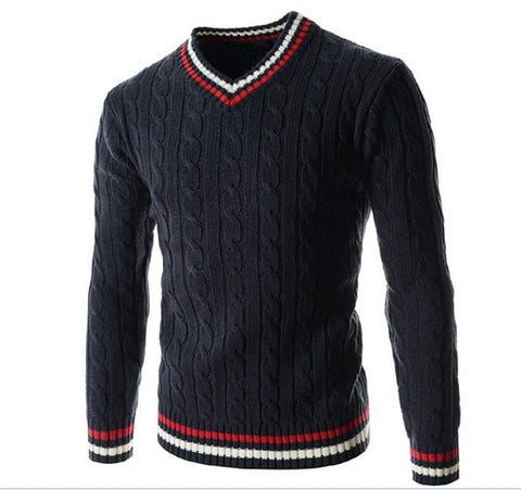 Sweater Men Autumn Winter Wool Striped Sweater Fashion Slim V-Neck Knitting Male Sweater Casual Loose Sweaters Pullovers
