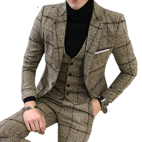 Luxury 3 piece suit men's suit latest jacket design blazer fashion (blazer + vest + pants)