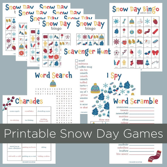 printable snow day game pack