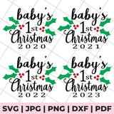 baby's 1st christmas svg file bundle