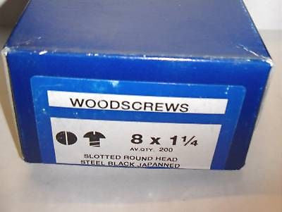 Qty 200  8 x 1 1/4  Slotted Round Head Black Woodscrews