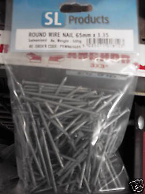 500gms x 65mm x 3.35mm galvanised round wire head nails