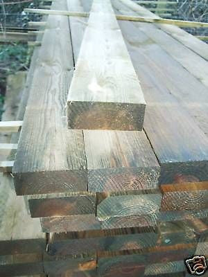 One 3.6m x 87mm x 38mm rough sawn timber fence rail