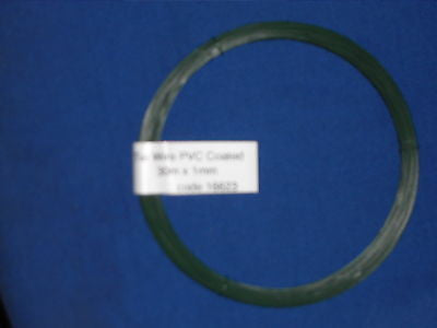 Green PVC coated garden light tying wire 30m x 1mm