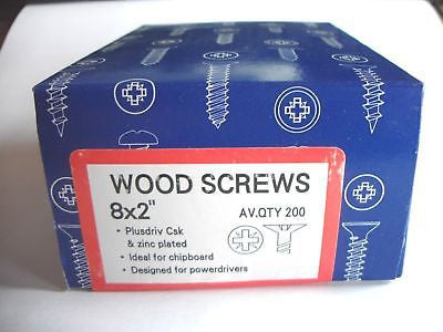 "200 x 8 x 2 ""  Hard Zinc CSK pozi wood screws"