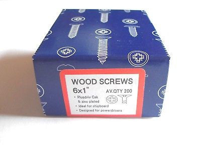 200 x 6 x 1  Hard Zinc CSK pozi wood screws