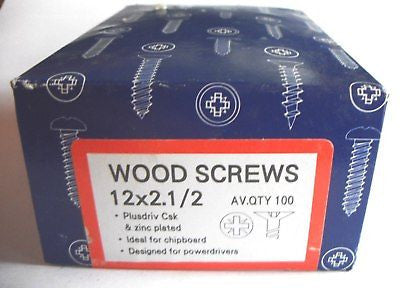"100 x 12 x 2 1/2 ""  Hardened Zinc CSK pozi wood screws"