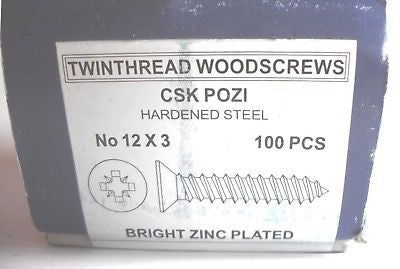 "100 x 12 x 3 ""  Hardened Zinc CSK pozi wood screws"