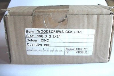 "200 x 10 x 2 1/2 ""  Hard Zinc CSK pozi wood screws"
