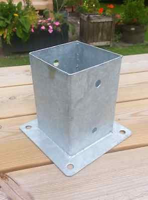 "101 mm bolt down fence post support galvanised for 100 x 100mm post 4"" x 4"""