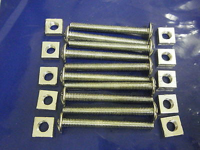 10 number M6 x 60 mm roofing bolts with nuts