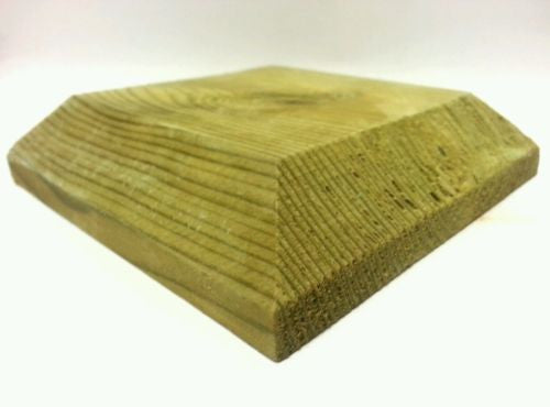 "Post cap for 3"" fence posts, decking tops, treated wood"