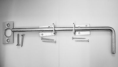 "Light duty Galvanised 12"" Cane bolt for doors and gates fittings included"