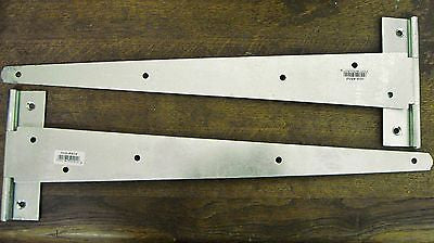 "one pair of 18"" medium tee T hinge BZP bright zinc plated gates doors shed"