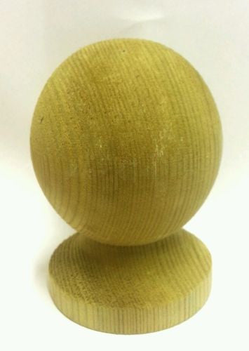 Treated Wooden Ball Finial for 3 inch posts