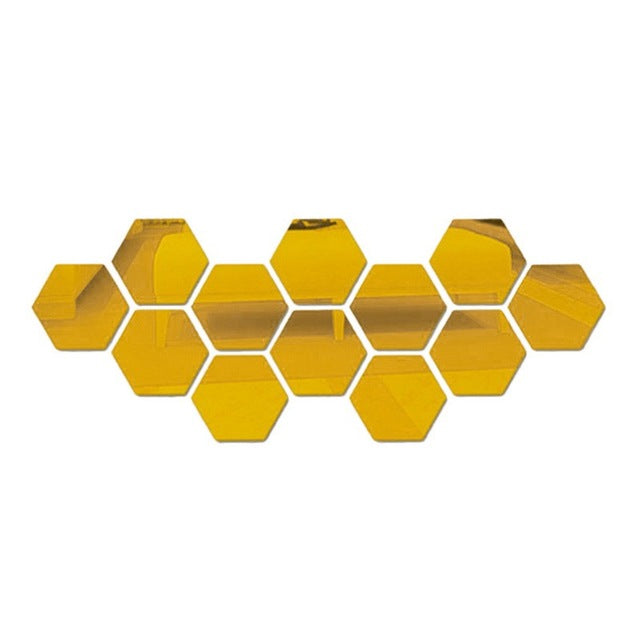 12Pcs 3D Mirror Wall Sticker; Hexagon Decorations