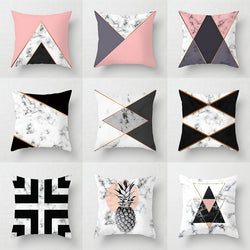 Pink Geometric Abstract Decorative Pillows Case
