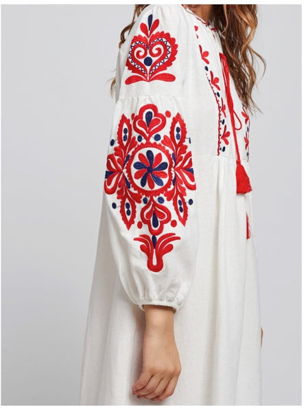 Ukranian style embroidered dress